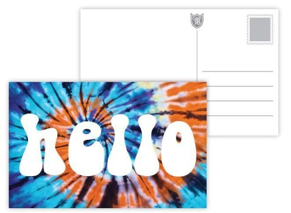 Hello Blue Tie Dye Postcards