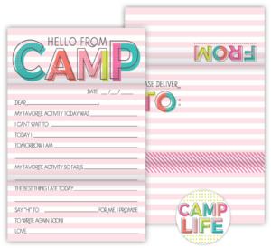Fold N' Seal Hello From Camp Cards (Pink)