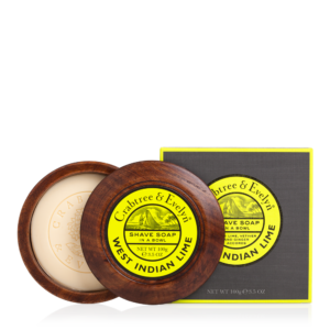 West Island Lime Shave Soap in a Wooden Bowl