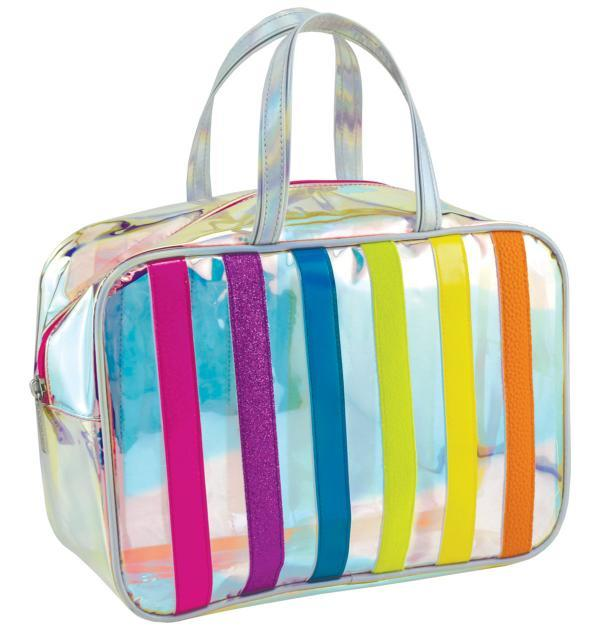 Iridescent Striped Large Cosmetics Bag