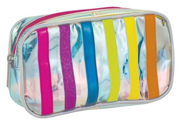 Iridescent Striped Small Cosmetics Bag