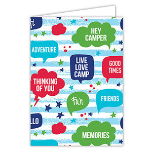 Thought Bubble Camp Card Blue